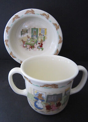 Royal Doulton BUNNYKINS 2 pc Fine Bone China CEREAL BOWL and 2 HANDLED CUP ~ NEW