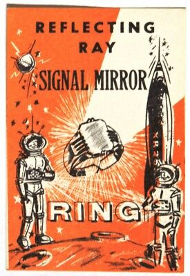ESA0610 REFLECTING RAY SIGNAL MIRROR RING Vending Machine Ad Piece 1960s RARE ~~