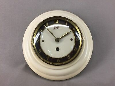 Antique Pendulum Clock Smi Rare Vintage Cream
