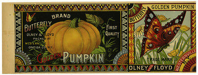 Vintage 19th/20th Century Butterfly Golden Pumpkin Canning Label Olney & Floyd