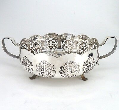 Silver Bowl Or Dish Twin Handle With Pierced Decoration