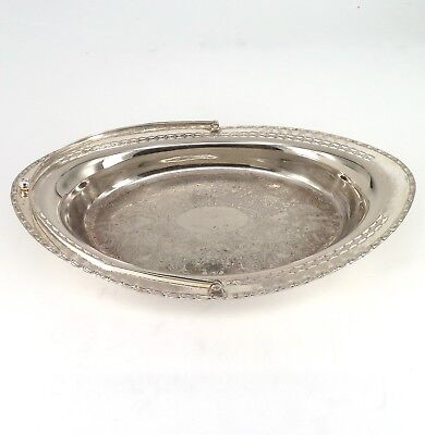 Silver Cake Dish Or Fruit Bowl Pierced Form With Swing Handle