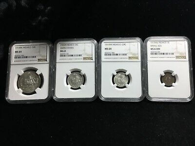 Ngc Ms 63,63,64,64 1905,14,15,19 Mexico Silver Copper Group Lot 41669,74,75,77