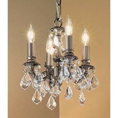 Classic Majestic 4 Lt Mini-Chandelier, Pewter, Crystalique-Plus - 57344AGPCP