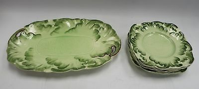 Vintage STERLING CHINA Green Plates x 5 And Serving Tray / Plate - A21