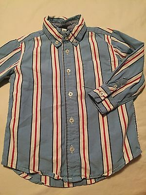 Baby Gap Boys Long Sleeve Button Up Shirt Size 4T Years Blue Red