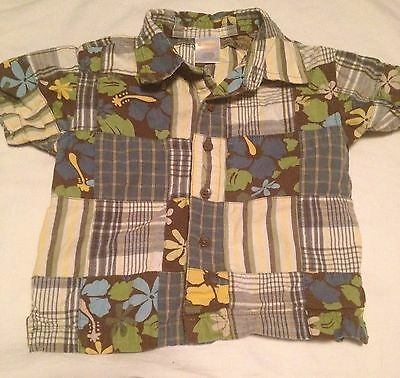 Gymboree Global Surf Boys Short Sleeve Button Up Shirt Size 18-24 Months