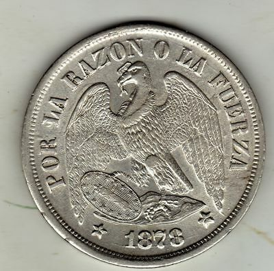 Chile  1 Peso 1878, Silver Very Nice Condition