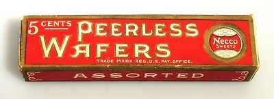 M139 Antique NECCO Sweets Peerless Wafers Authentic Candy Package Box (c. 1901)