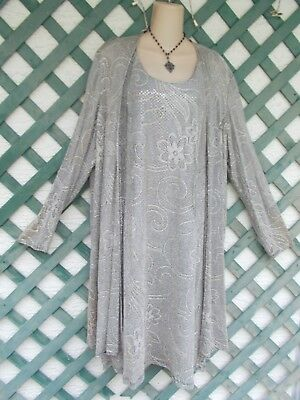 Onyx Nite Crocheted Lace Sparkle Duster Top Dress 14-16 Wedding Mother Bride