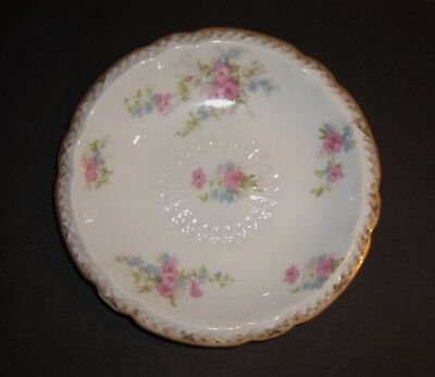 LIMOGES Bowl Pink Blue Flowers Floral Gold GDA Antique French France Porcelain