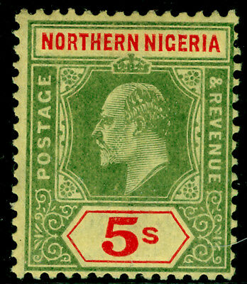 NORTH NIGERIA SG38, 5s green & red/yellow, LH MINT. Cat £28.