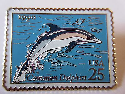 1990 Common Dolphin 25c #2511 Stamp Pin USPS Postal Mail Postage Pinback NEW