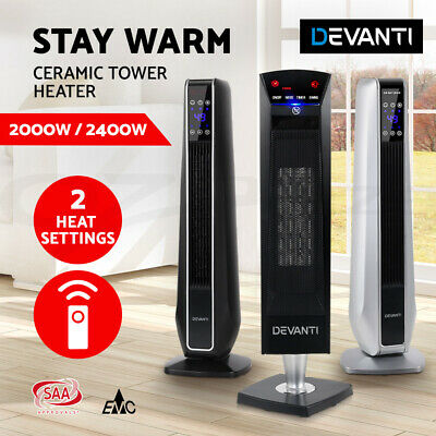 Devanti Electric Ceramic Tower Fan Heater Portable Oscillating Remote 2000/2400W