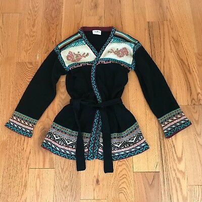 Vintage LONG Sleeve BELTED HIPPIE BOHO Sweater ~ Collage Size M-L