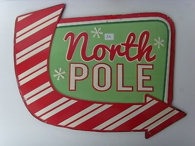 """Antique galvanized sheet metal """"North Pole"""" Advertising Sign early 1900's 41/32"""