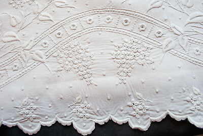 1920's French Linen Sheet Whitework Embroidery Flowers LPW Monogram Initial