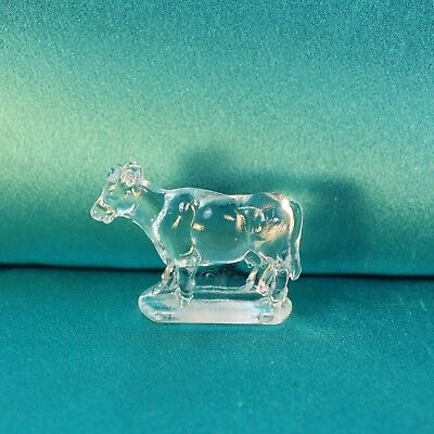 Vintage Clear Glass COW Miniature Candy Toy Figurine L.E. Smith mini Farm milk