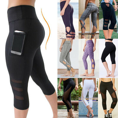 3/4 Women High Waist Capri Yoga Fitness Capri Sports Leggings Running Gym Pants