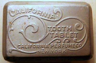 Antique California Perfume Co Dental Tooth Tablet Tin w Milk Glass Base c1900