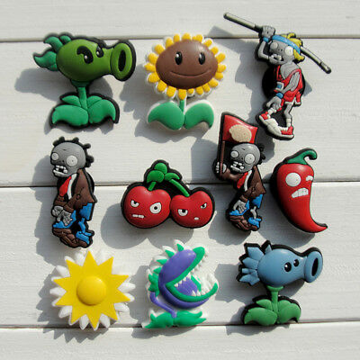 10pcs/lot Plants VS Zombies PVC Shoe Charms for Croc & Jibbitz Bands Bracelets