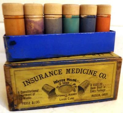 Antique Insurance Medicine Co Cure-All 12 Wood Vials Watermelon Seed c1880s