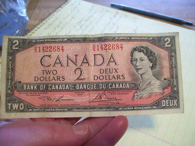 1954 Bank of Canada $2 Note Bill