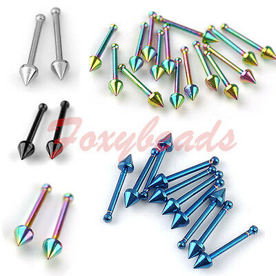 10p 20G Stainless Steel Colors Taper Nose Bones Stud Barbell Tragus Piercing HOT