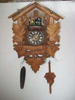 Rare Vintage Musical West German Cuckoo Clock With Fox and Dancers ~ Parts Only