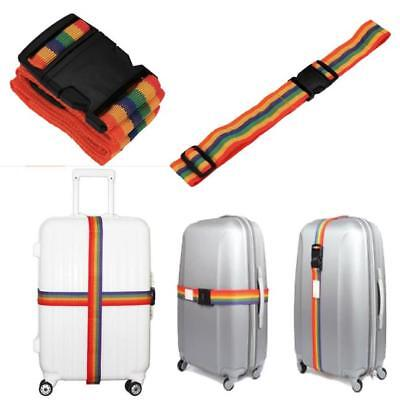 Travelling Adjustable Backpack Bag Luggage Suitcase Straps Baggage Rainbow Belt