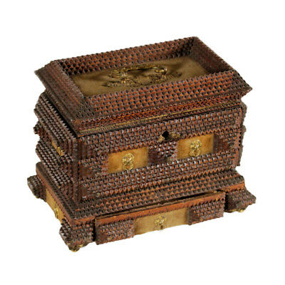 Small Case Wood Velvet and Bronze Early 20th Century