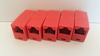 5X RED RJ45 joiners/cable extenders for Cat5, Cat5e. Cat6 cables
