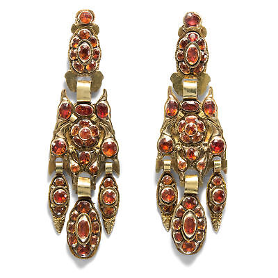 Spain ca.1780: Antique Earrings Made of Gold & hessonit Catalonia Drop Rococo