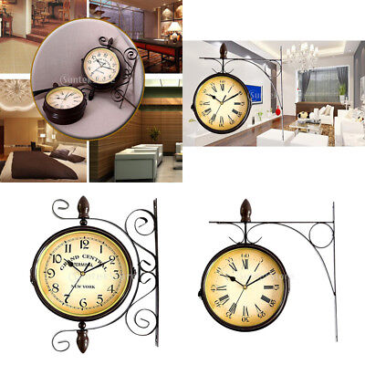 Vintage Antique Double Sided Wall Mount Station Clock Garden Home Decor