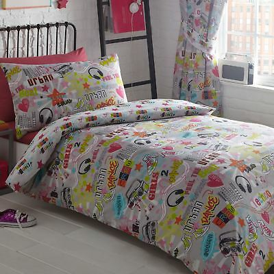 Dance Crew Single Duvet Cover Set Childrens Music Notes Stars - 2 In 1 Design