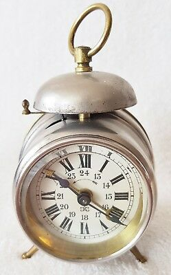 Antique Alarm Clock Japy Freres Carriage Mantel Travel Clock French Rare
