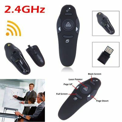 Wireless USB Presenter Powerpoint RF Fernbedienung Laserpointer Pen 2.4GHz Black