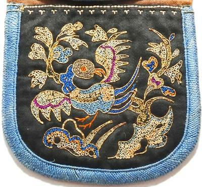 Antique Qing Chinese Silk Embroidery Purse - Phoenix & Animals Gold Pekin Knot