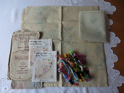 TWO Vintage PENELOPE WW11 Tablecloth/ Tray Cloth Embroidery Kits To Embroider