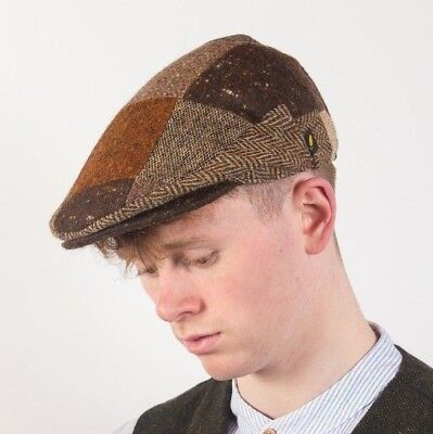 9cf6a6bfa5e IRISH ARAN DONEGAL TWEED BROWN PATCH CAP HAT PATCHWORK HATMAN IRELAND sale