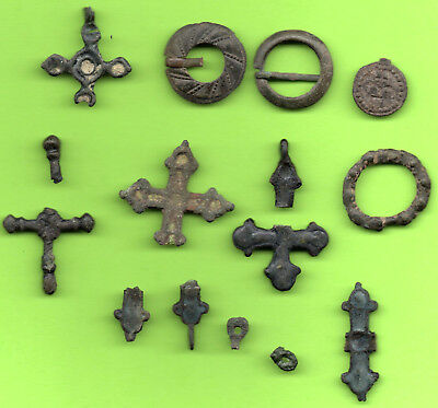 Ancient Viking Enamel Bronze Lot Cross Kiev Russia Ukraine ca 1100 Byzantine 703