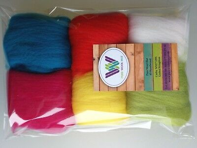 Bright set* Pure Wool Tops for Felting 6 Colours: White Yellow Red Green, 30g
