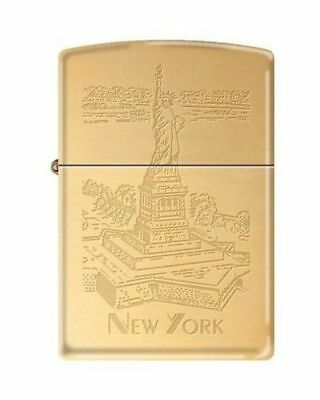 "Zippo ""Statue of Liberty-New York City""Lighter, Brushed Brass Finish, 6526"