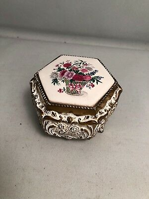 Gunther MELE TRINKET  SANKYO Music BOX with painted floral boutique