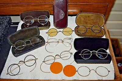Group LOT Antique Wire Bakelite Frame Glasses + 5 Cases 12K GF AS IS Parts