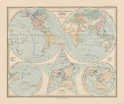 Old World Map - Land, Water Distribution on Earth - Stielers  1885 - 27.55 x 23