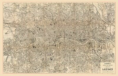 Great Britain Map - Literary, Historical Map of London - Cook  1899 - 35.69 x 23
