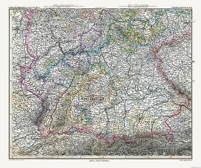 Old World Map - Southern Germany - Stielers  1885 - 27.66 x 23