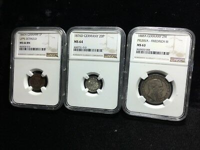 Ngc Ms 63 64 64 1888 1876 Germany Prussia Group Lot Of 3 41904,07,11