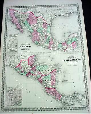 Large Antique Color 1867 Johnson's Map Mexico & Central America W Panama Insert